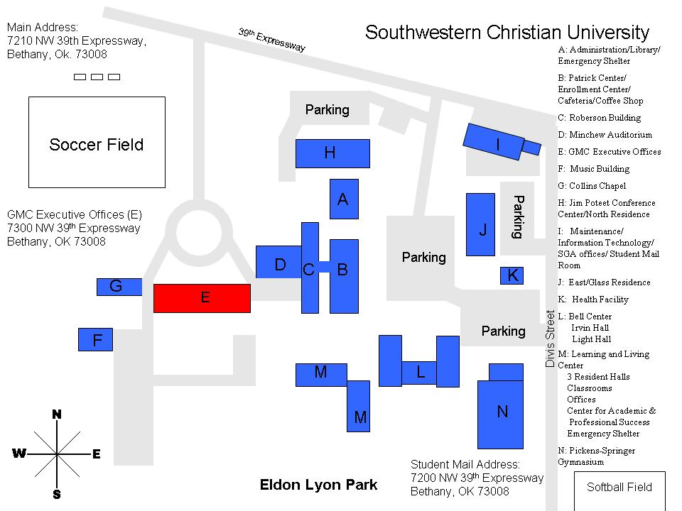 University Of Central Oklahoma Campus Map.Campus Map Southwestern Christian University